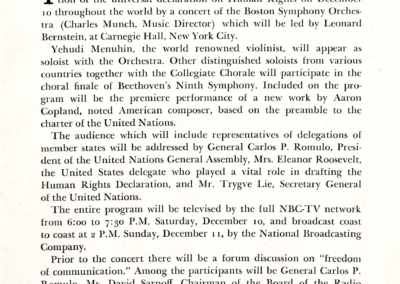 UN Declaration concert tip-in, December 10, 1949