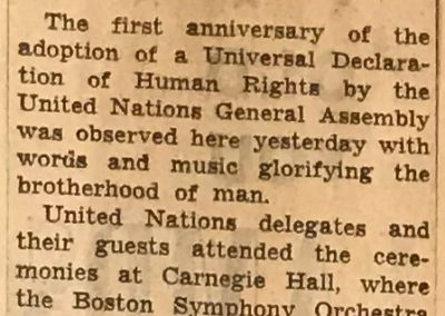 UN concert review, page 1, New York Times, December 11, 1949