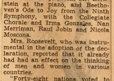 UN concert review, page 2, New York Times, December 11, 1949