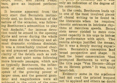 Missa Solemnis review, The Berkshire Evening Eagle, August 10, 1951