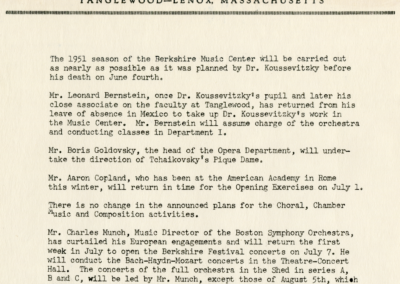 Tanglewood Music Center memo, 1951