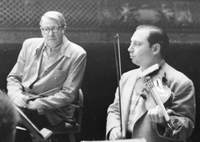 Photograph of Munch and Stern in rehearsal at Symphony Hall, April 1955