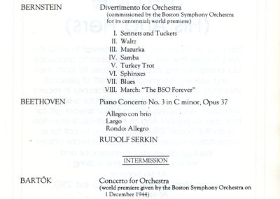 Bernstein's Divertimento world premiere concert program, August 25, 1980