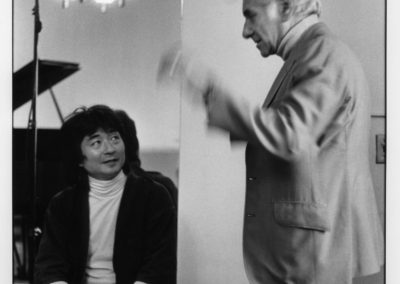 Seiji Ozawa and Leonard Bernstein backstage at Symphony Hall for the Divertimento world premiere, September 25, 1980. © Peter Schaaf