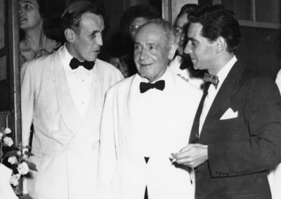Serge Koussevitzky with his conducting assistants at the TMC, Stanley Chapple (left), and Leonard Bernstein, circa 1950. Photograph by Heinz Weissenstein/Whitestone Photo