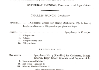 Concert program for Bernstein's Kaddish Symphony American premiere, 1964