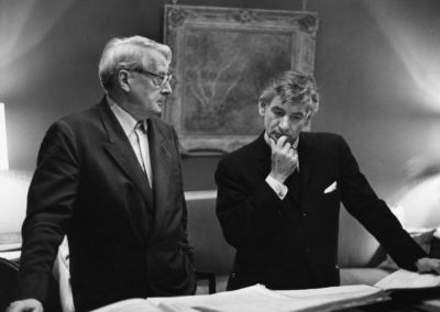 Charles Munch and Leonard Bernstein look over the score for Bernstein's 'Kaddish' Symphony No. 3, 1964. Photographer unknown.