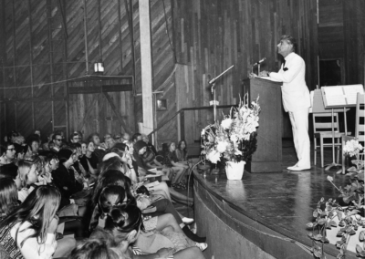 Bernstein gives The Principle of Hope speech in the Theater-Concert Hall at the TMC Opening Exercises, June 28, 1970