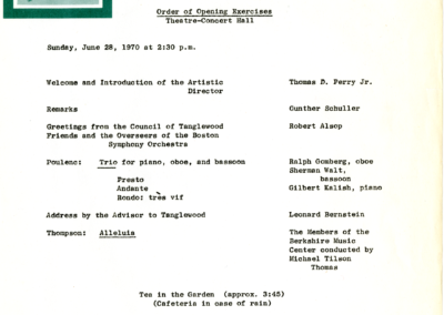 Opening Exercises program, June 28, 1970