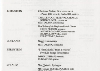 Bernstein's 70th Birthday Gala concert program, page 1, August 25, 1988