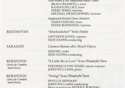 Bernstein's 70th Birthday Gala concert program, page 3, August 25, 1988