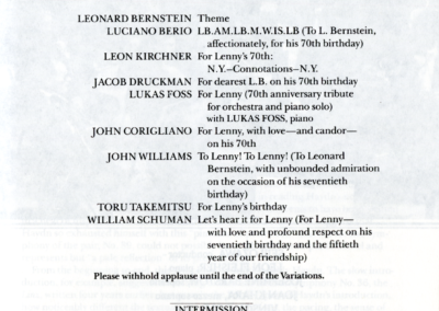 Koussevitsky Memorial concert program, page 2, August 28, 1988