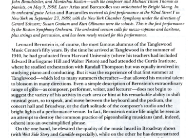 Bernstein's Last Concert, program notes page 1, August 19, 1990