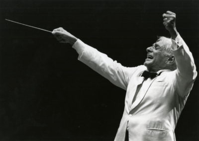 Leonard Bernstein conducts his last concert, August 19, 1990. Photographed by Walter H. Scott
