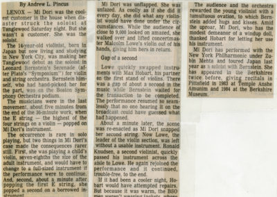 Clipping from The Berkshire Eagle, July 28, 1986